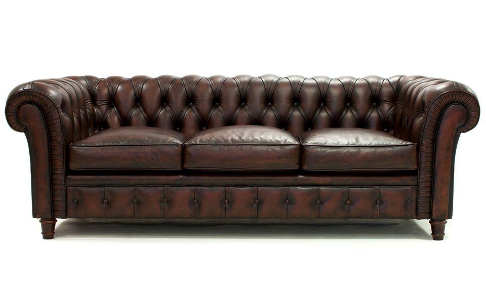 10faf363b5ac2 Sofa Chesterfield cuero autentico con capitone Material  Piel legitima  Pieza inglesa. Respaldo tapizado con