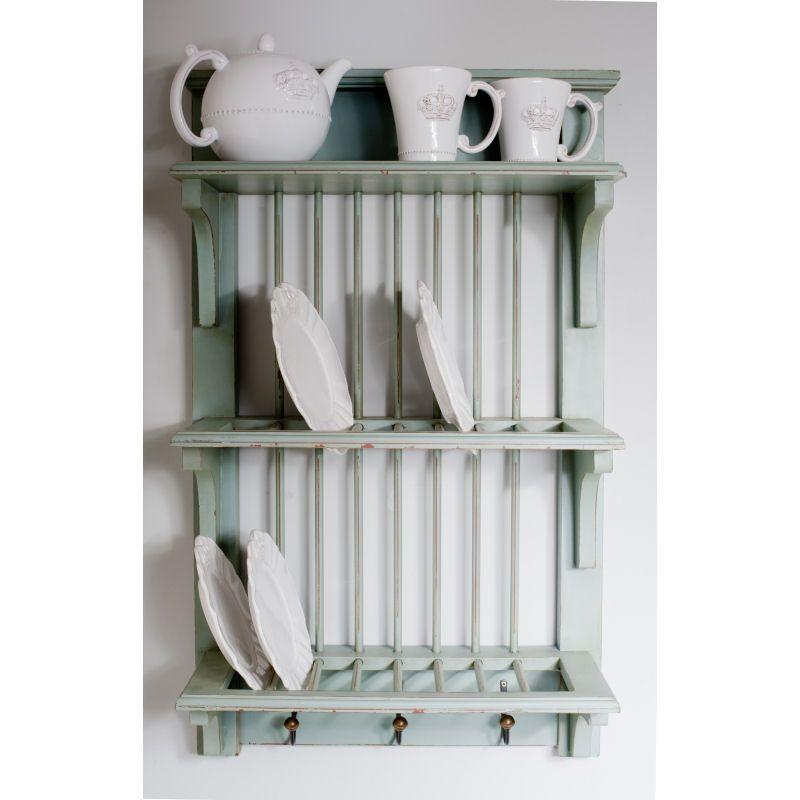 Wooden Plate Rack Wall Shelf - love the pale blue!  sc 1 st  Pinterest & Wooden Plate Rack Wall Shelf - love the pale blue! | my inner ...