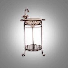 Mueble de lavabo forja mod palanganero africa con espejo for Mueble para lavabo con pedestal