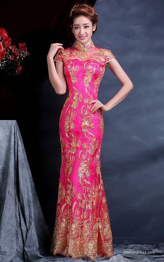 Chinese Wedding Dress Bridal Cheongsam Fishtail Bridal Gown Pink ...
