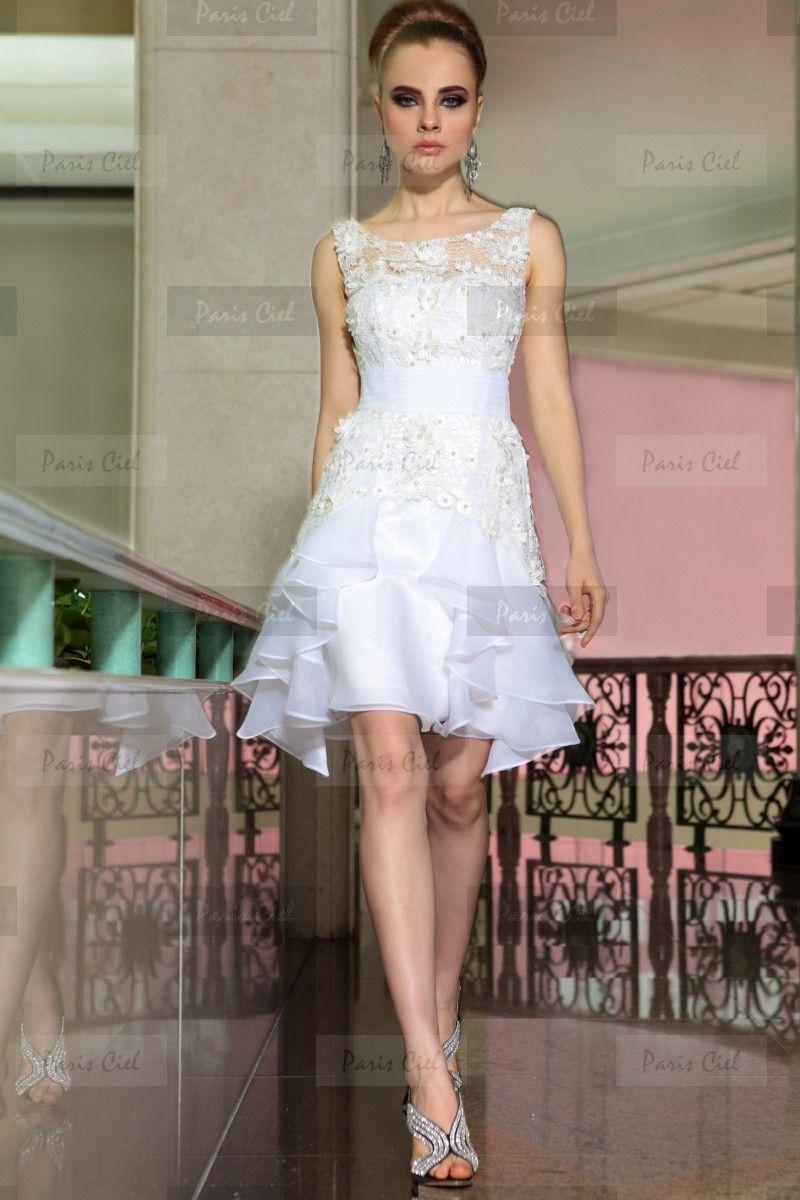 Vestidos Cocktail Soberbo Curto Branco Tule | Paris Ciel | To my ...