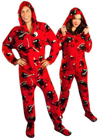 7268abab78d0 Ninja Monkey Hooded Footed Pajamas with Drop Seat