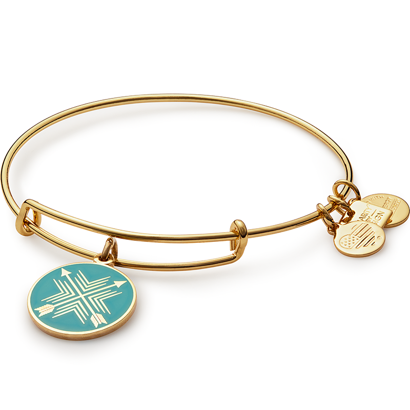 7170d41ab99197 The Arrow of Friendship Charm Bangle is available in a Yellow Gold and a  Shiny Silver finish. ALEX AND ANI Expandable Wire Bracelet allows the the  wearer to ...