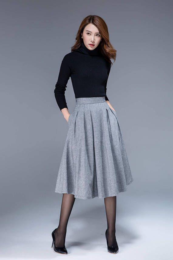 online store ca699 38f0c Gonna midi di lana, gonna invernale, gonna lunghezza del ...