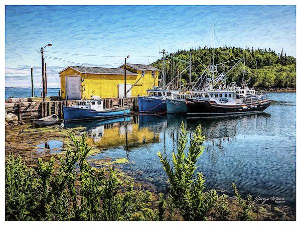 Fishing Trawlers at Dock In North West Cove, Nova Scotia, Seldon Miller Fisheries fleet of ocean go