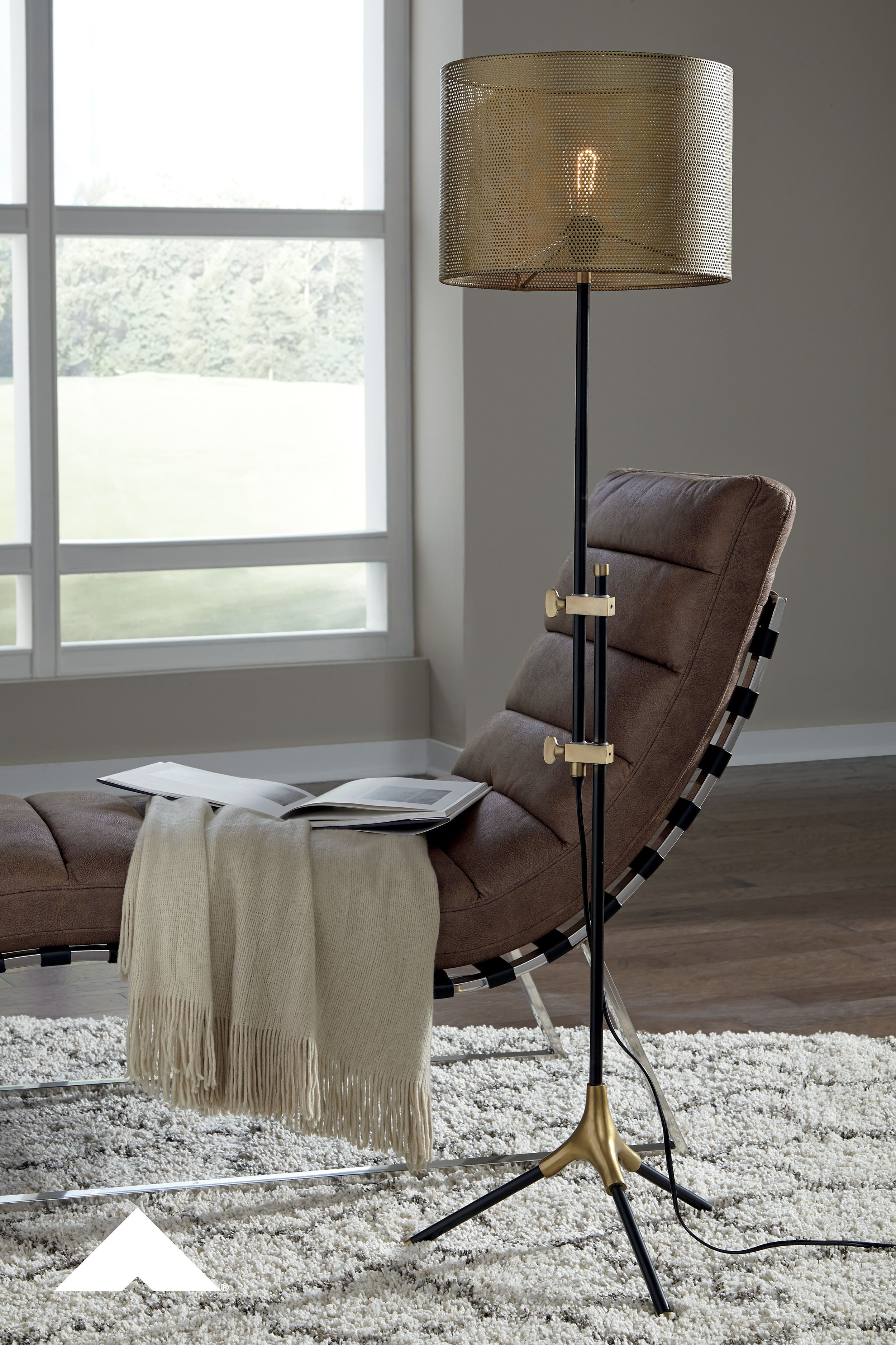 Mance Brass And Gunmetal Finished Metal Floor Lamp By Ashley
