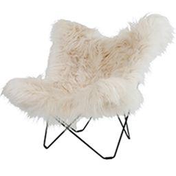 Chaise Papillon Fourrure Agneau Blanc Longue Zangra So Cocooning Butterfly Chair School Chairs Furniture Design Chair