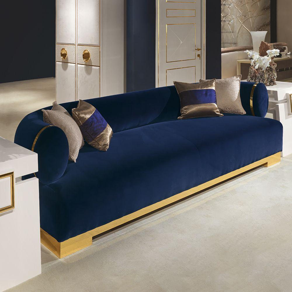 High End Modern Italian Designer Blue Velvet Sofa Sofa Design