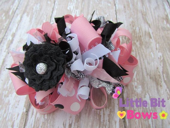 Pink Black and White Dots Boutique Funky Bow by littlebitbows