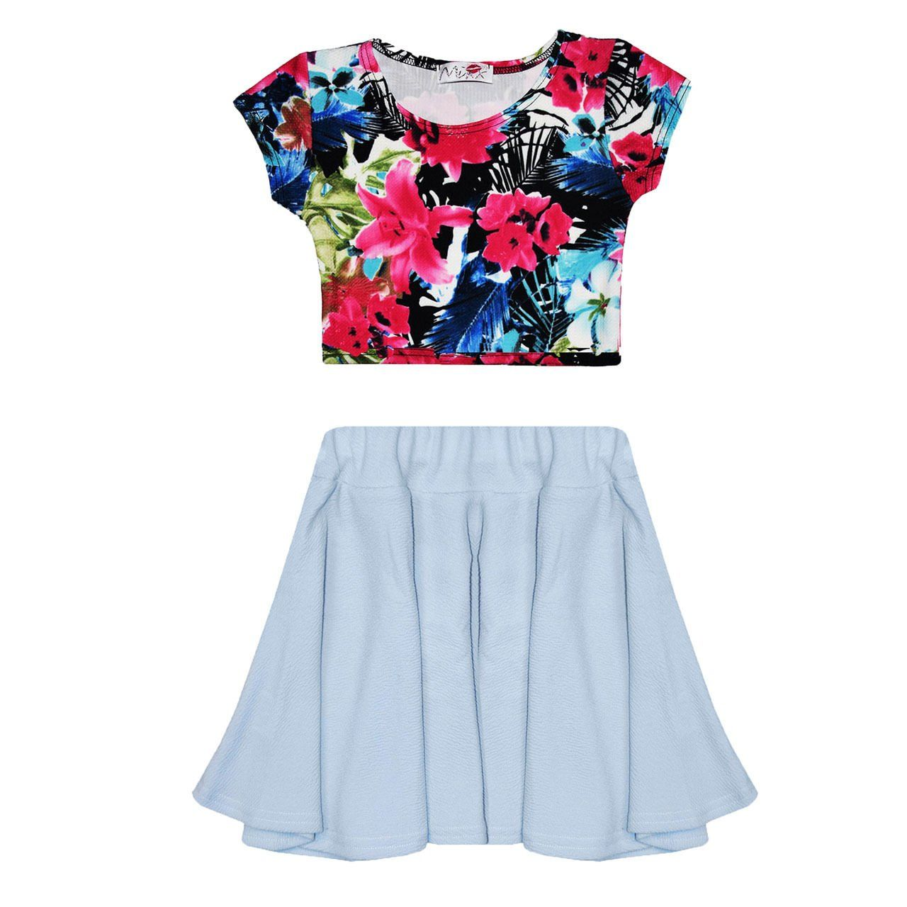 c05955f0bd4 Girls Kids Plain Skater Skirt Waffle Effect Printed Crop Top Age 7-13 Years  (