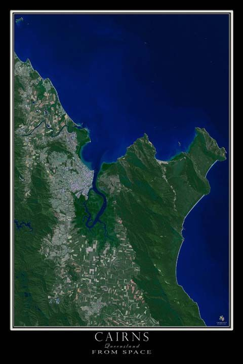 Map Of Australia From Space.Cairns Queensland Australia Satellite Poster Map Travel Cairns