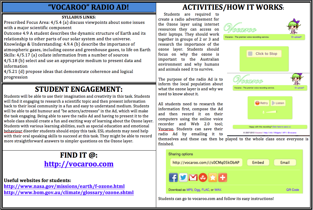 """Ozone Layer Radio Ad! Get students to make a Radio Ad with the online voice recorder, """"Vocaroo.""""  Find it at http://vocaroo.com"""