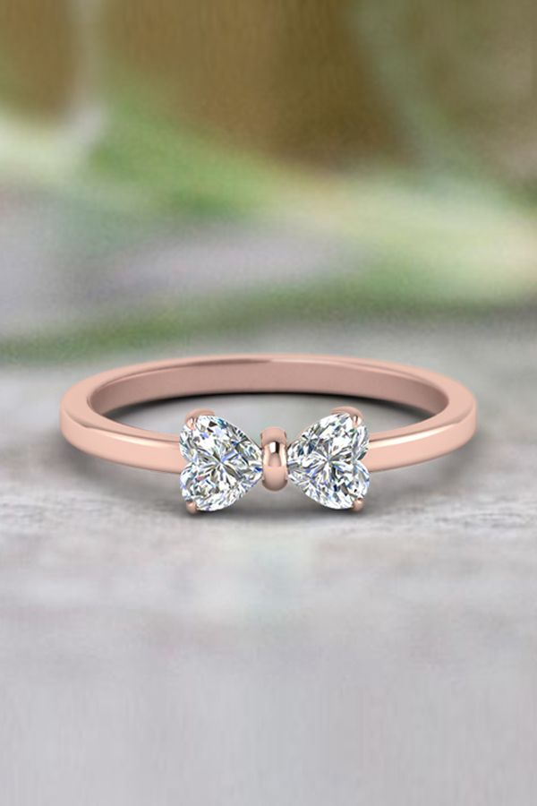 2 Heart Shaped Bow Diamond Ring In 14k Rose Gold Jewelry