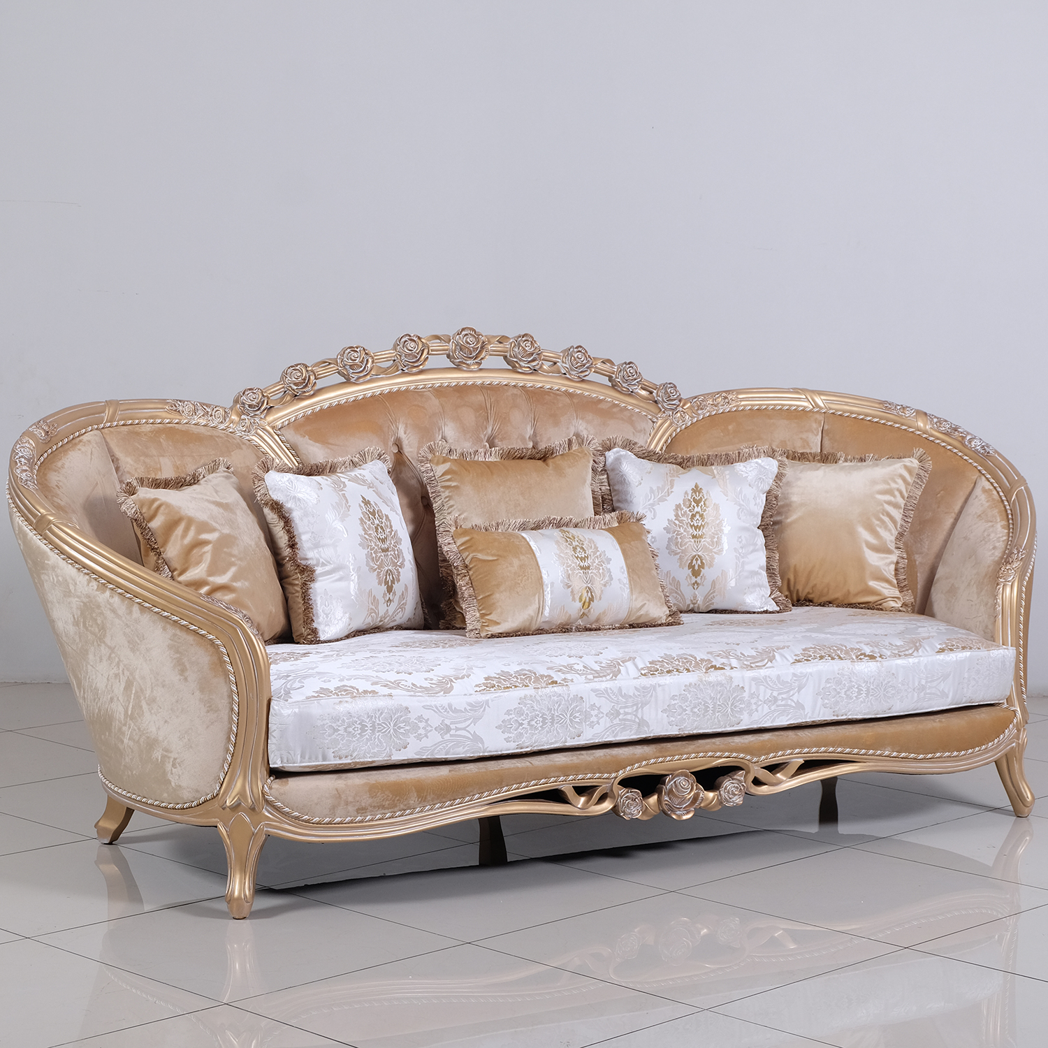 Macam Sofa Valentina Sofa In Tufted Fabric On Carved Champagne Mahogany By