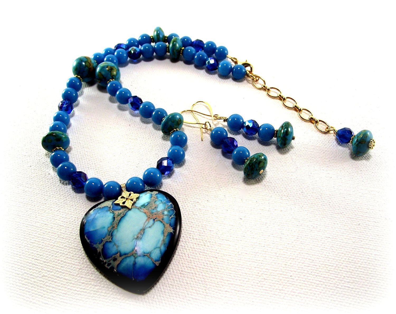 Womenus necklace set so so pretty tropical blue variscite heart