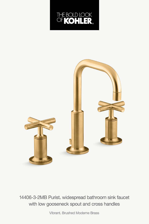 K 14406 3 Purist Widespread Sink Faucet With Low Cross Handles Kohler Sink Faucets Faucet Sink