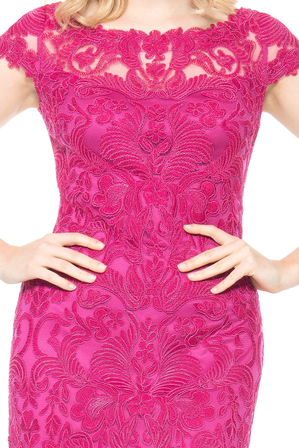Ceremony Wedding Dress - Embroidery on Tulle Cap Sleeve Gown | Tadashi Shoji