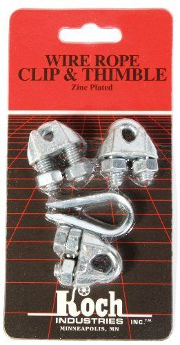 Koch 143211 Wire Rope Clips And Thimble For 1 4 Inch Cable Zinc Plated By Koch 5 30 From The Manufacturer Thimbles Home Hardware Zinc Plating