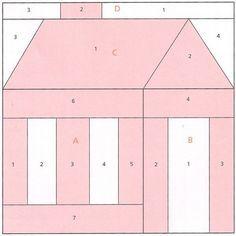 Schoolhouse quilt block paper foundation piecing pattern | Bloques ... : quilt house patterns - Adamdwight.com