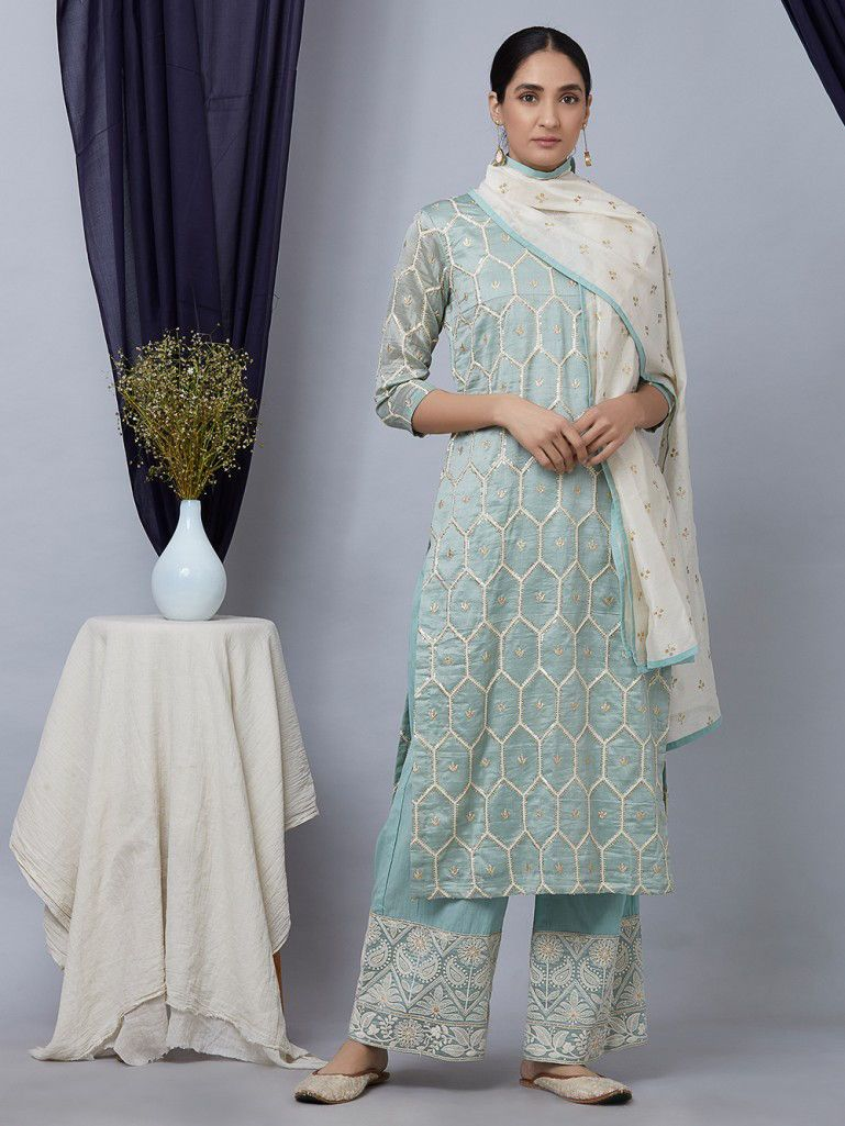 a74f43c039 Buy Pista Green Embroidered Chanderi Suit with Chikankari Palazzo- Set of 3  online at Theloom