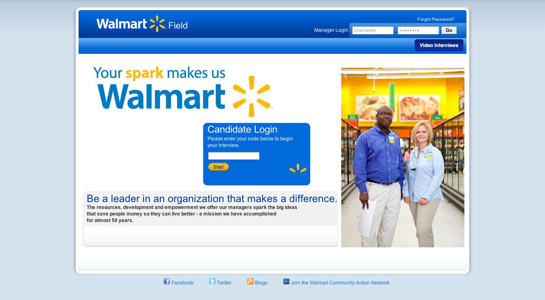 Walmart HireVue's Walmart, Landing page, Candidate