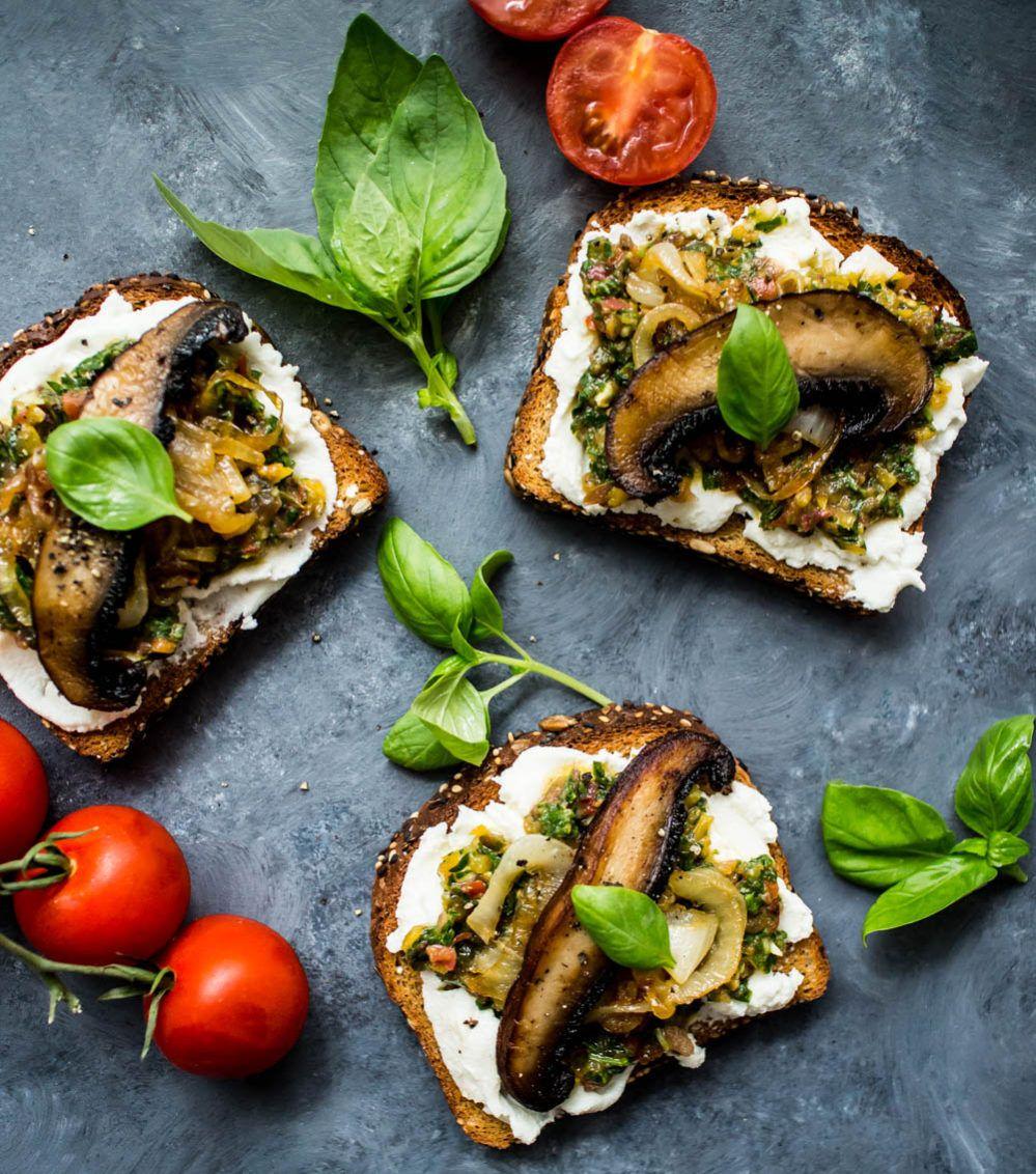 Ricotta Toast with Tomato Chimichurri & Mushrooms   Starters ...
