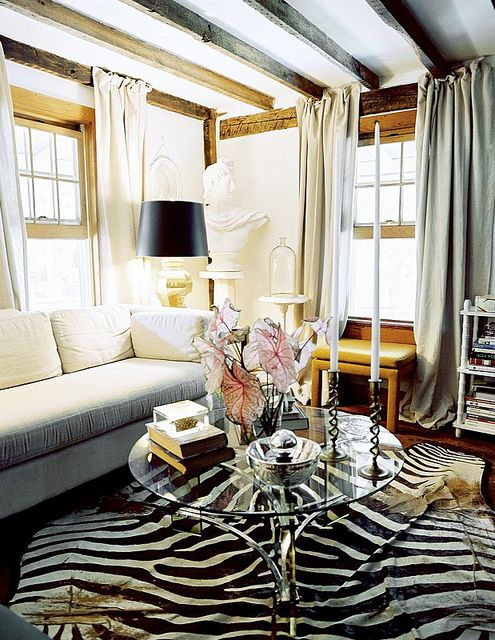 living room, zebra rug, home decor, white couch, country ...