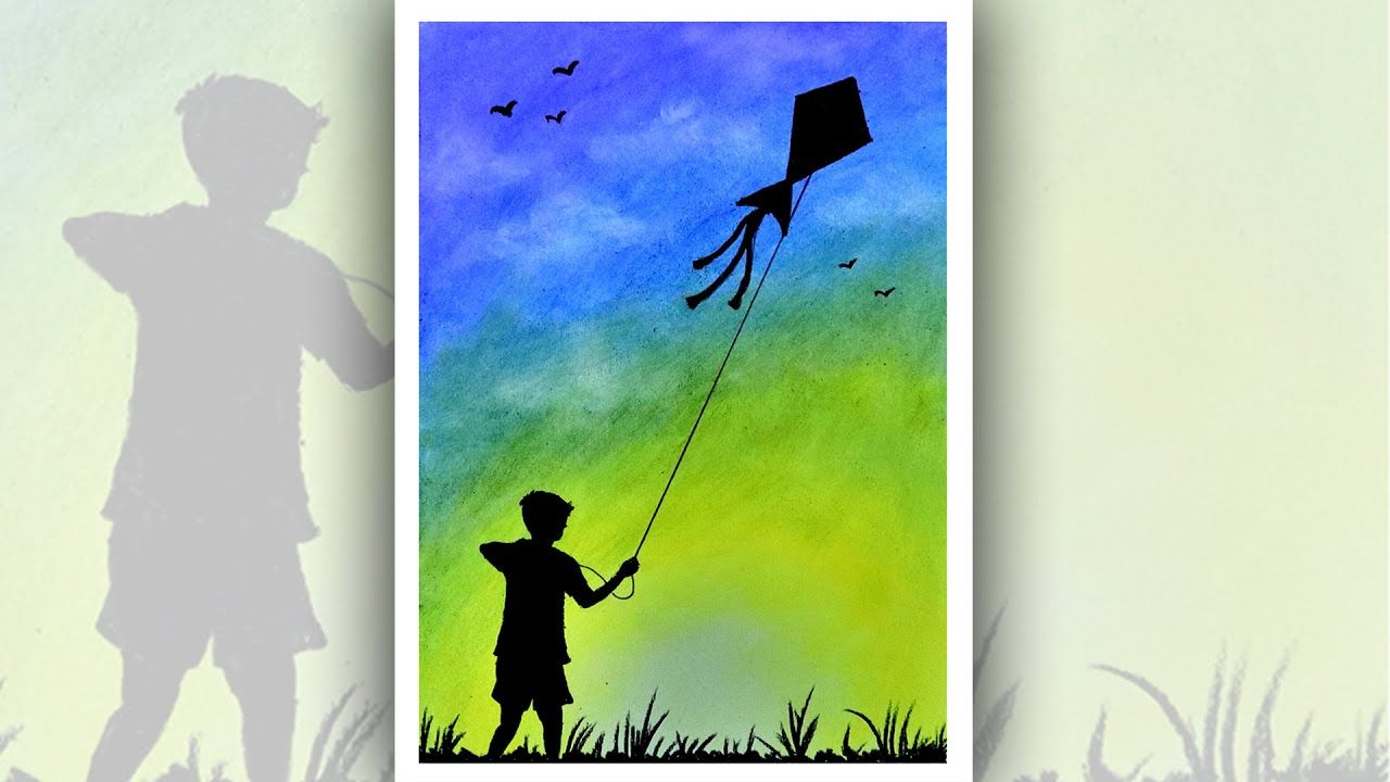 A boy flying kite on sunset drawing easy scenery drawing