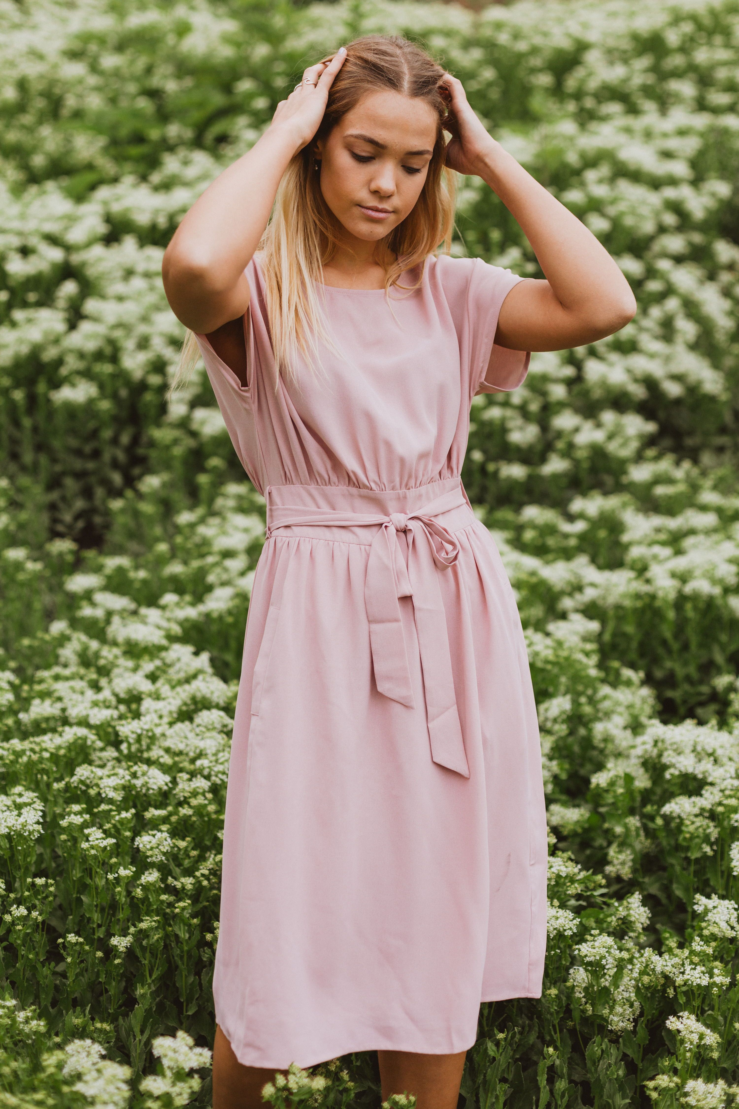 The Raymond Tie Dress Should Be A Requirement For Anyone Ever It Is A Flattering Blush Color But The Fit Makes T Blush Dress Casual Pink Dress Casual Dresses
