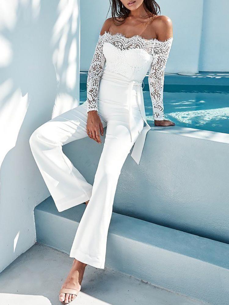 White Pantsuit Romper