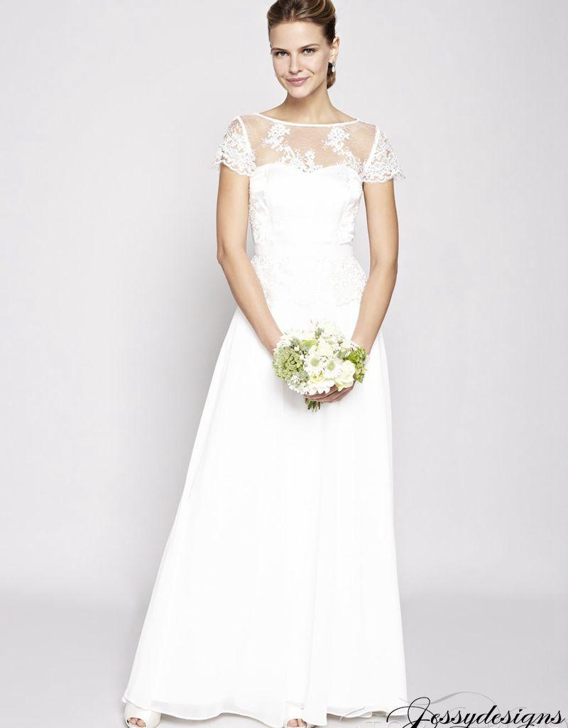 White Short Sleeves Floor-Length Chiffon Lace Wedding dress ...