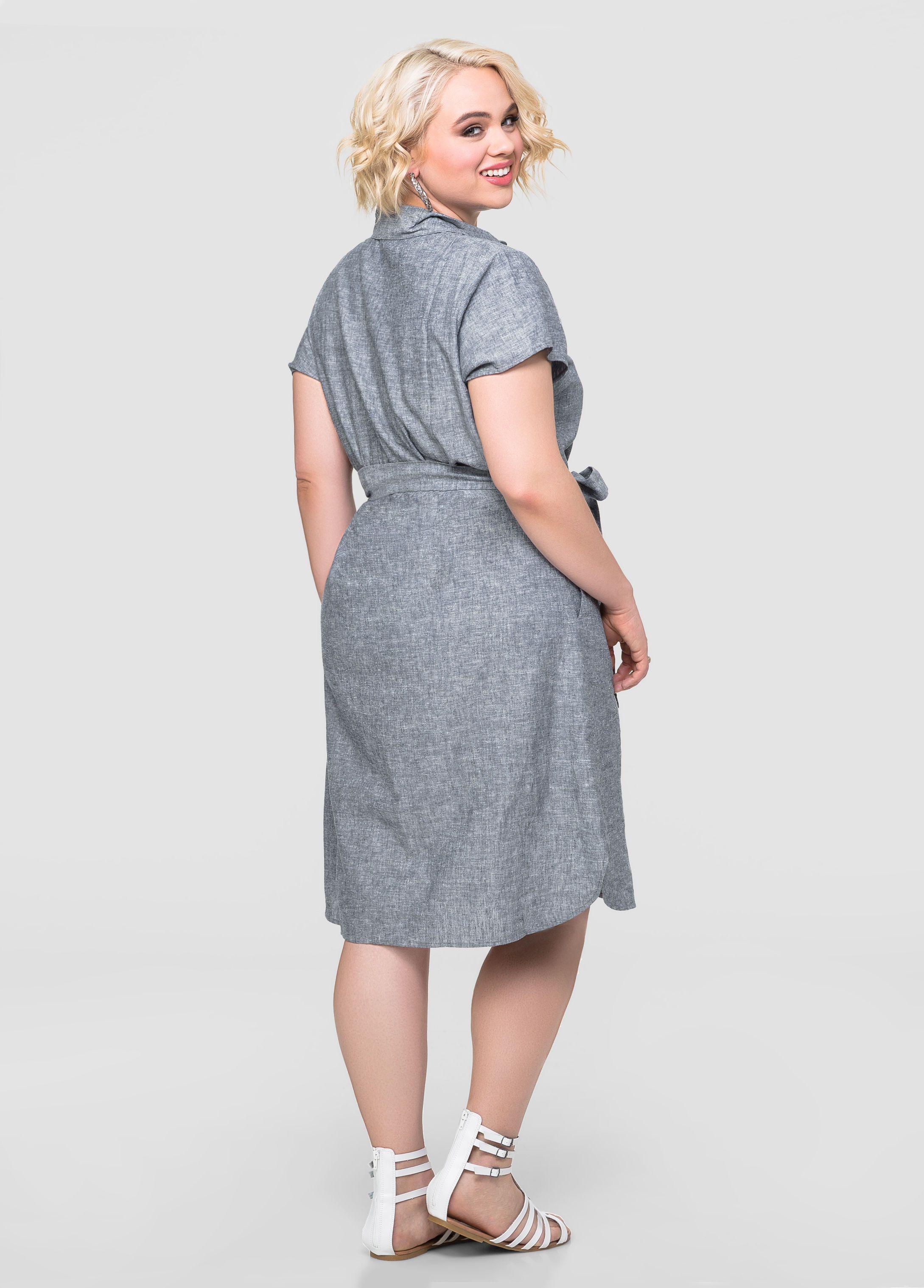 Linen Chambray Shirt Dress Ashley Stewart Kirby Cernosek Ashley