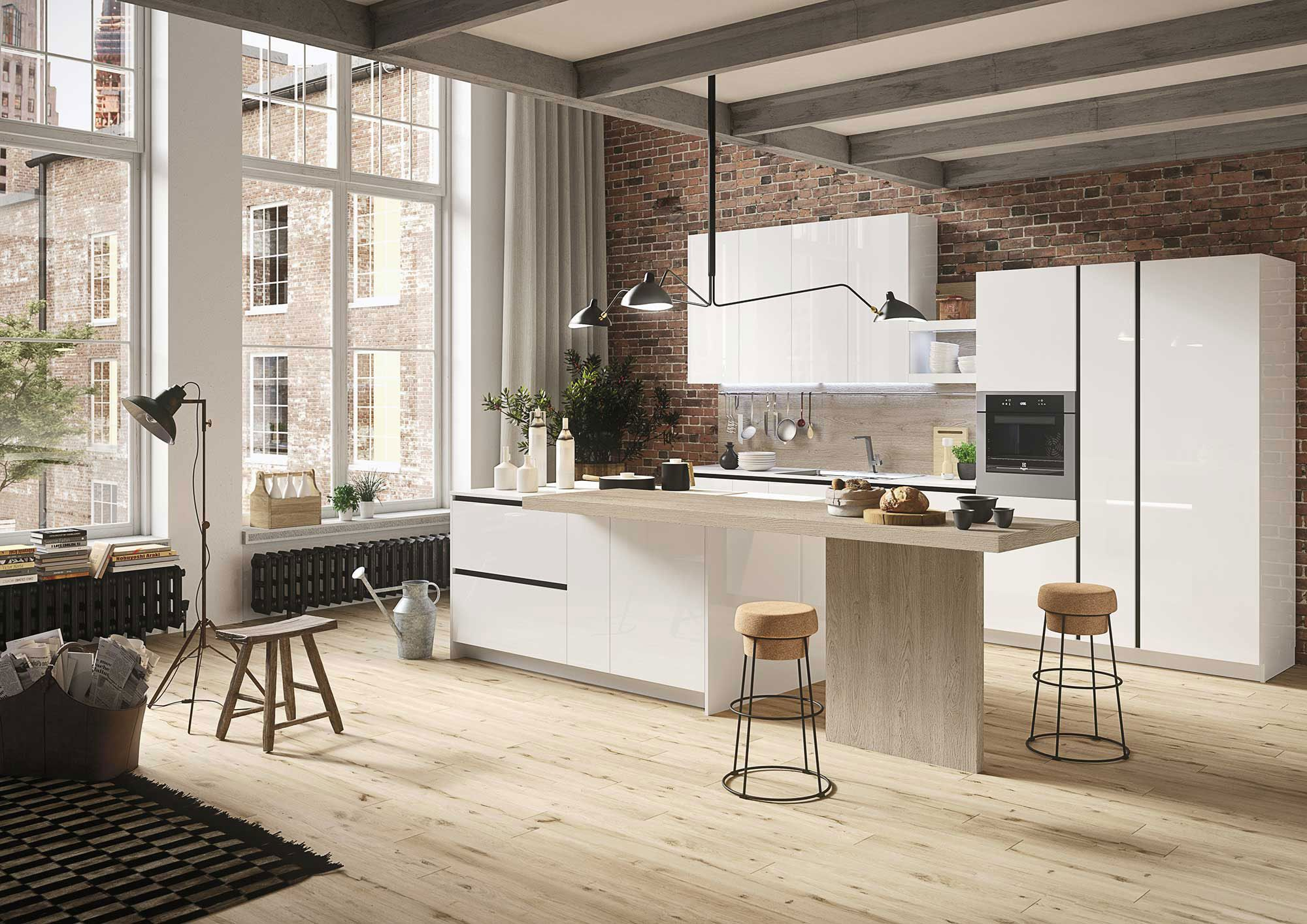 Modern kitchens accessible prices Snaidero First Steel