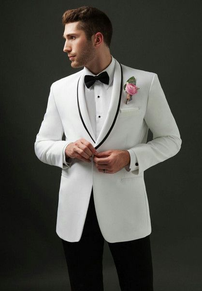 Vintage Men Suits White Groom Wedding Tuxedos Black Shawl Lapel Formal Groomsmen Suits Man Blazer Bride Costume Bridegroom Jacket Cool Tuxedos For Prom Dinner Jacket Styles From Rynek, $108.85| DHgate.Com #men'ssuits