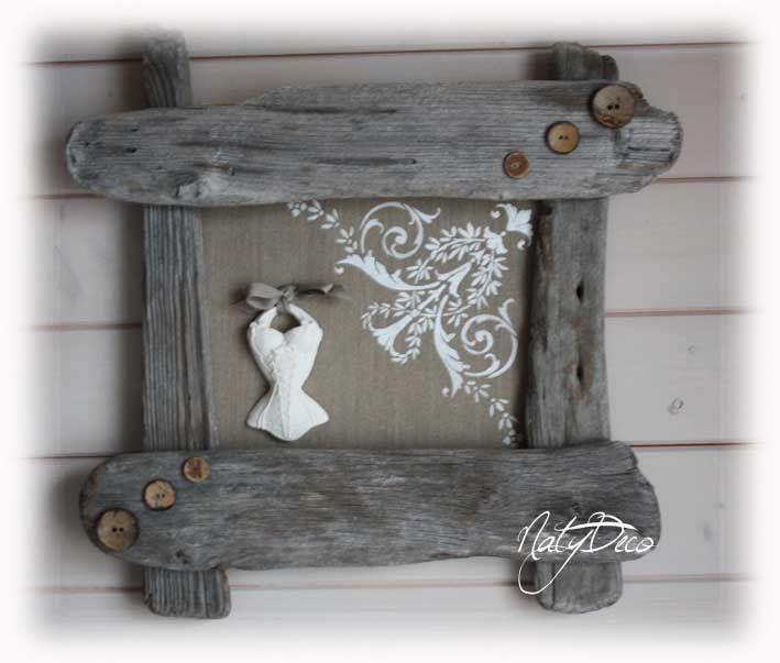 cadre en bois flotté http://www.natydecocorse.com   décoration en ...