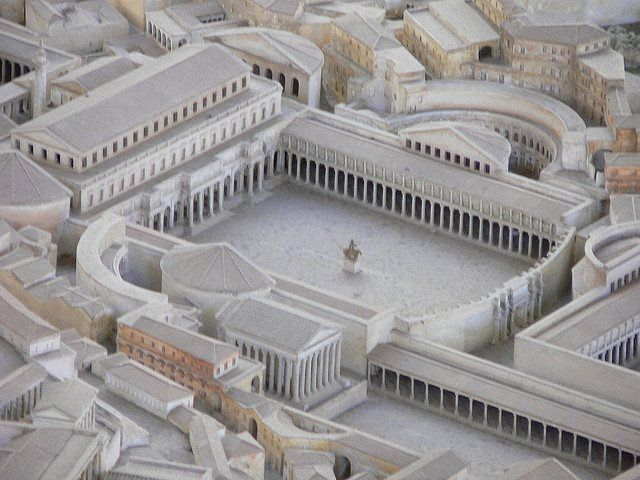 Model of Trajan's Forum and Trajan's Column. Forum. Trajan's Column is in the upper left hand corner.