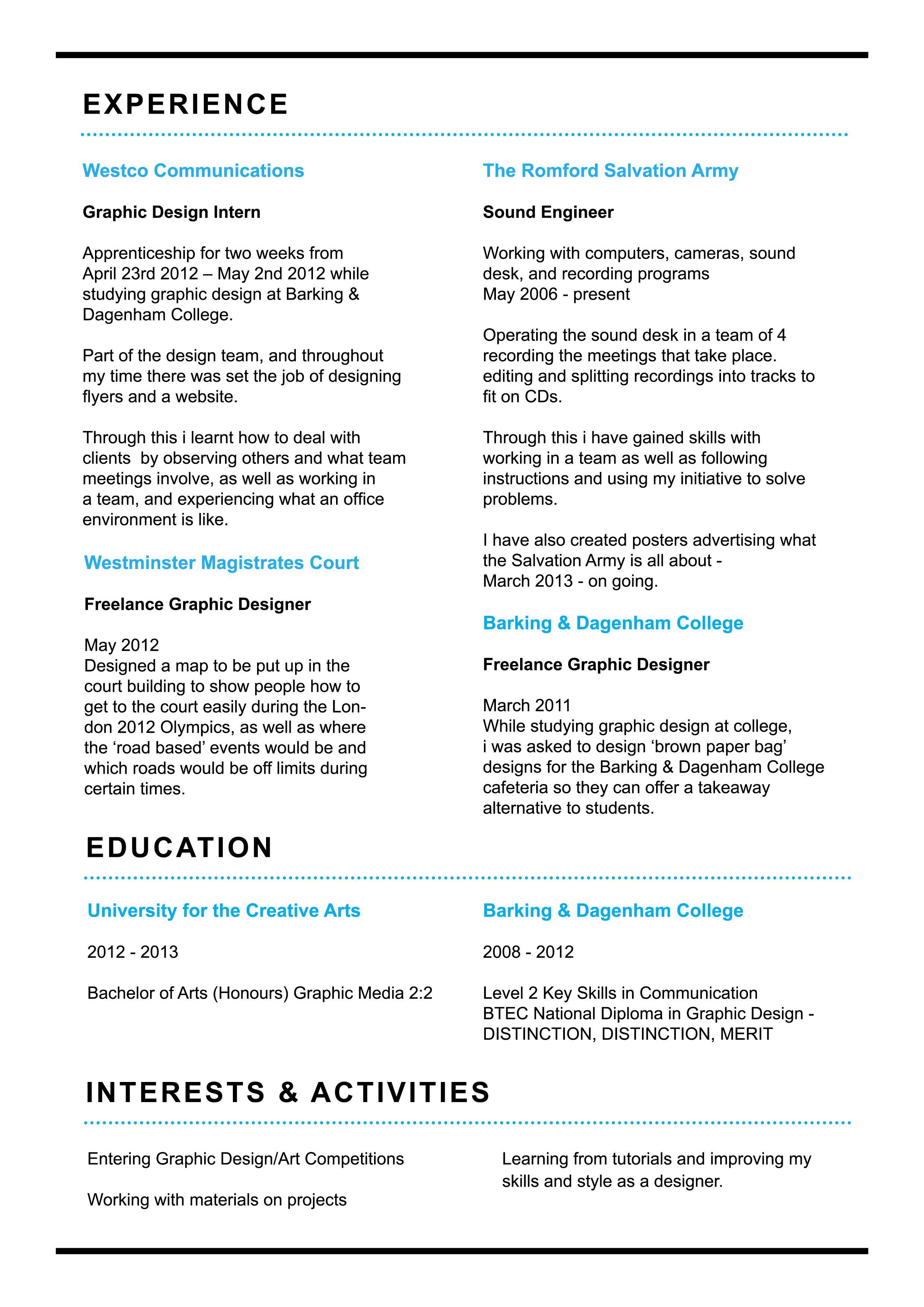 Cv apprenticeship curriculum vitae curriculum