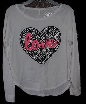 Justice Girls Shirt Top Long Sleeve White Black Pink Heart Love Size 12 gm