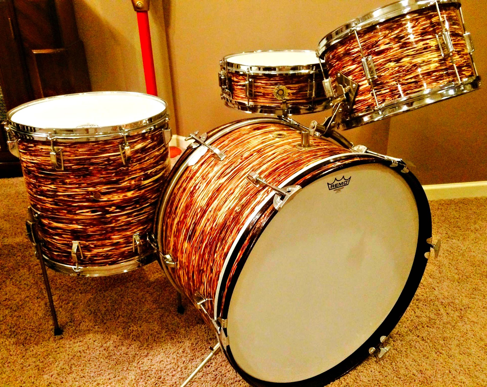 My Late 60's Kent 4piece Set In Red Oyster Pearl A Beautiful Piece Vintage  Drumsdrum