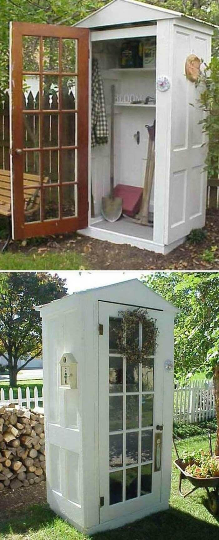 A whimsical boothlike glass door storage shed kesäkeittiö