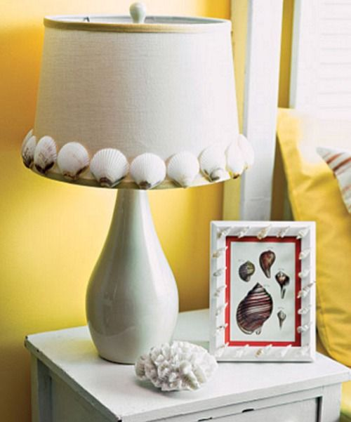 Diy seashell lampshade beach items pinterest craft and creative diy seashell lampshade mozeypictures Images