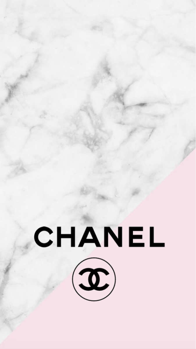 Chanel logo pink marble iphone background