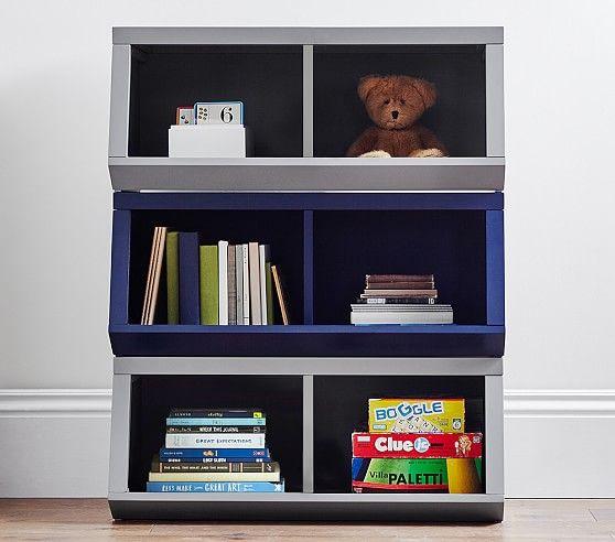 Double Market Bin With Divider Bookshelves Kids Pottery