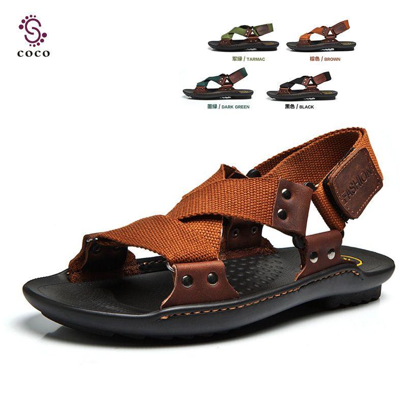 Best selling Classic Design Men Sandals Hemp Genuine Leather Beach sandals  Men Slippers Men Summer shoes