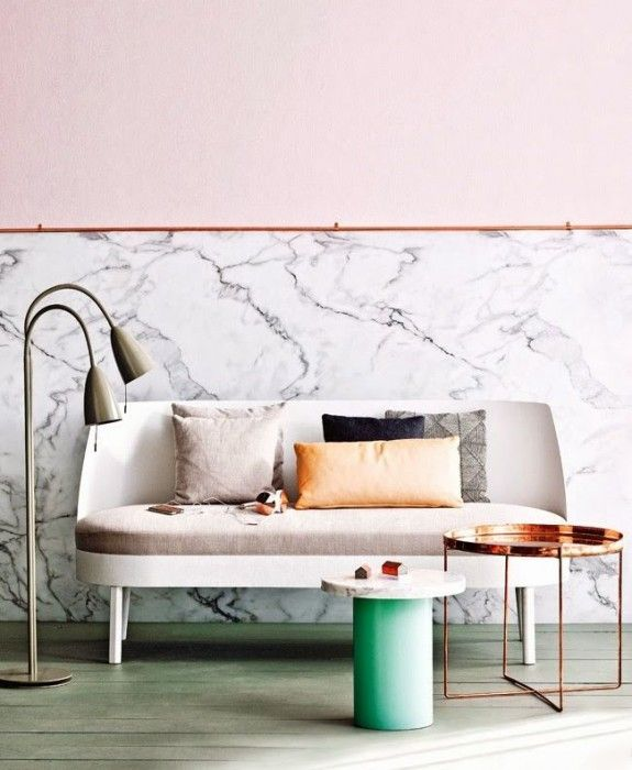 Marble and copper.