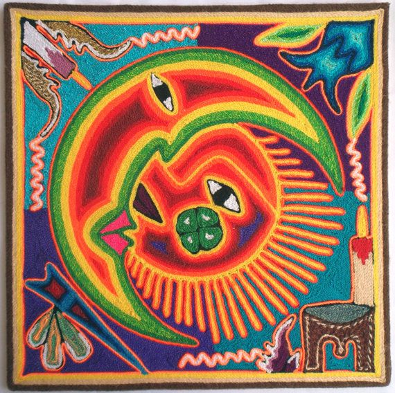 12 Mexican Huichol Sun and Moon Eclipse yarn painting by ...