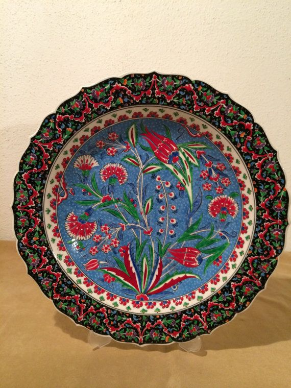 Turkish Ceramic Hand Painted Large Plate Decorative Wall Sspecial Made
