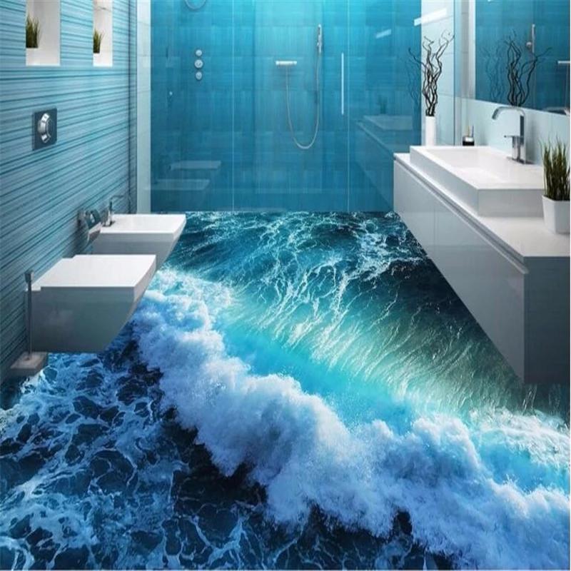 Benutzerdefinierte 3d Bodenbelag Wellen Gemalt Boden Super Grun Auf Dem Badezimmer Boden Tapeten Wohnkultur 3d Tapete Bodenbelag Auf Badezimmer Benutzerdefini In 2020