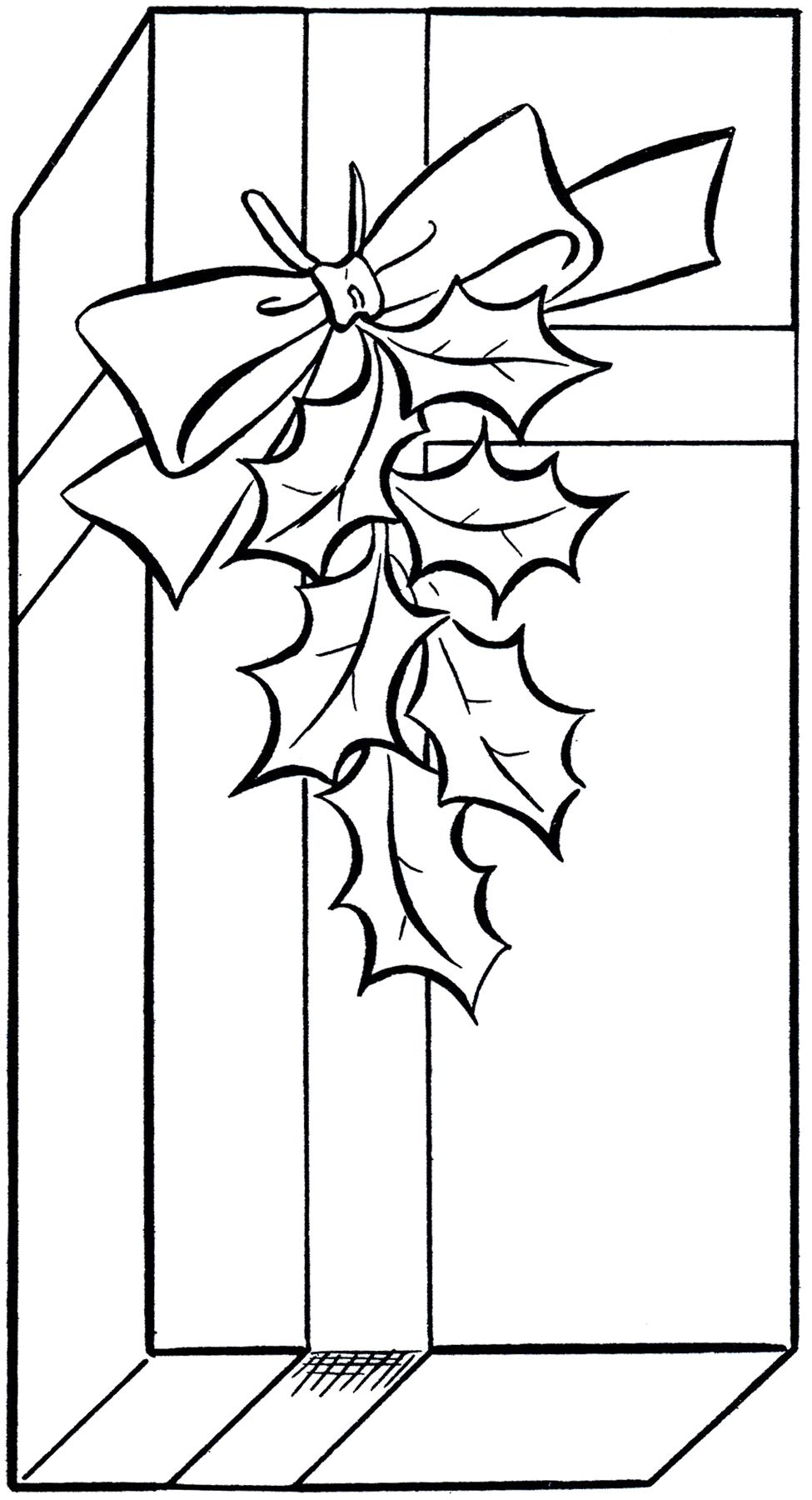 Holiday Gift Clip Art Image Coloring Page! Christmas