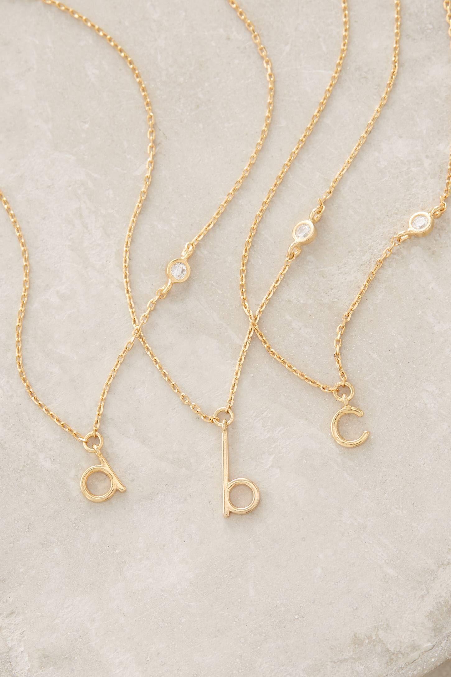 Mini monogram pendant necklace your anthropologie favorites mini monogram pendant necklace mozeypictures Image collections